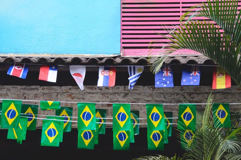 Geometric Shape World Cup World Cup 2018 City Flag Urban Geometry Multi Colored Hanging Plant No People Day Building Exterior Side By Side Architecture Wall - Building Feature Built Structure Outdoors In A Row Arrangement
