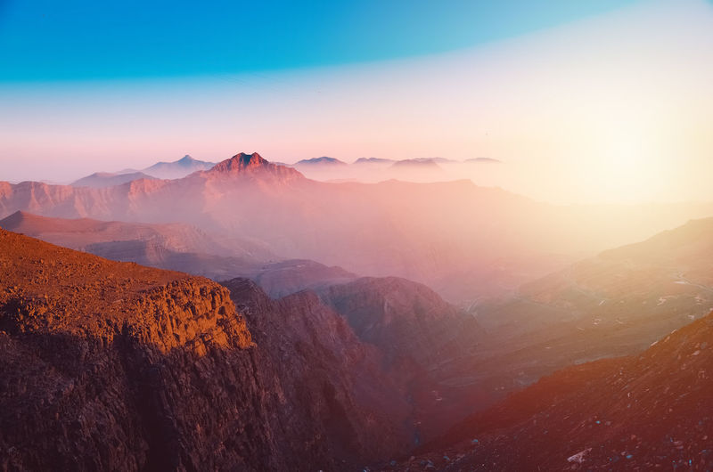 Sunrise at Jebel Jais Mountain JebelJais Tallest Mountain In UAE Day EyeEm Selects Tree Mountain Astronomy Fog Sunset Forest Mountain Peak Sky Landscape Mountain Ridge Mountain Range Valley Rocky Mountains Dawn Mountain Road