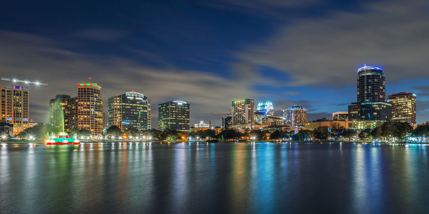 Orlando skyline Lake Eola Park Orlando USA Architecture Building Exterior Built Structure City Cityscape Florida Illuminated Modern Night No People Outdoors Sky Skyscraper Travel Destinations Urban Skyline Water Waterfront Been There.