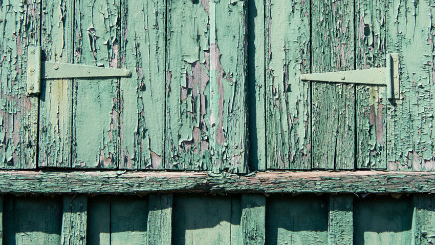 Architecture Built Structure Close-up Closed Day Door Full Frame Green Color Hinge Latch No People Old Old Buildings Old-fashioned Outdoors Rough Textured  Weathered Wood - Material