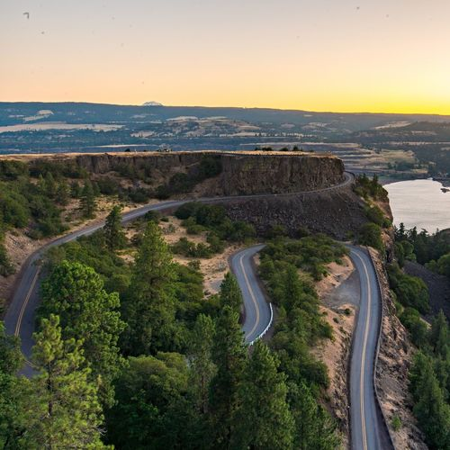 High angle view of mountain road at columbia river gorge during sunset