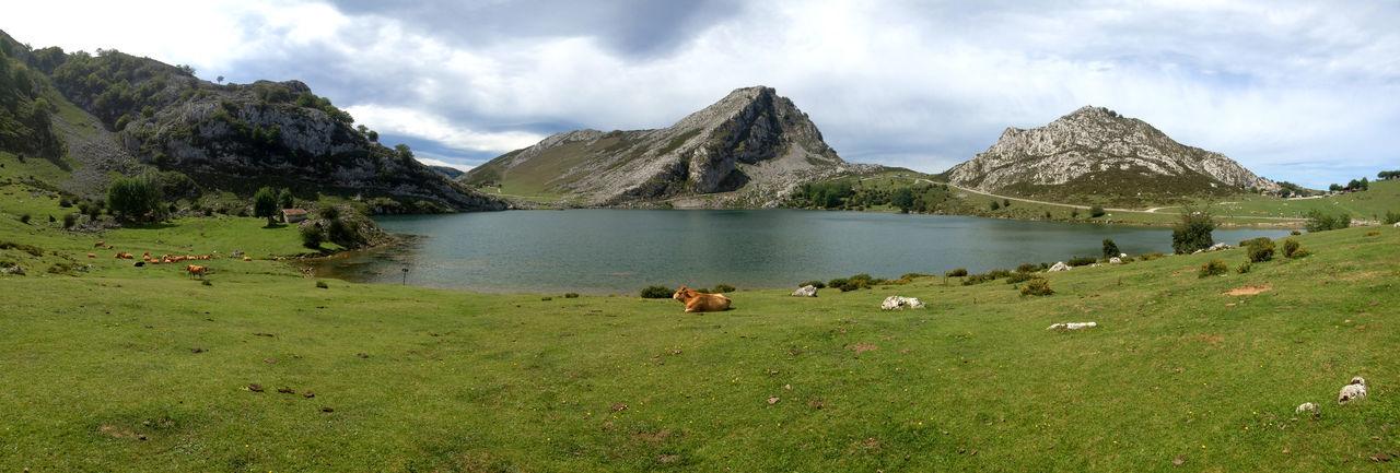 Panoramic view of lake enol