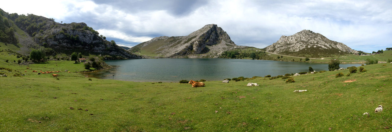 Panoramic view of lake enol