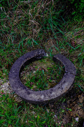 Break The Mold Circle Concrete Curves Cut Eroded Gardening Grass Hole Look Through Material Nature And Artificial. Need Needed  Opening Port Round Roundabout Second Hand Solitary Through Used