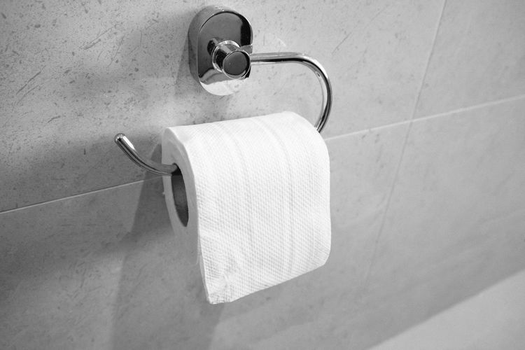 Toilet paper holder Bathroom Close-up Convenience Day Domestic Bathroom Domestic Room Hygiene Indoors  No People Rolled Up Tile Tissue Paper Toilet Paper Toilet Roll Holder