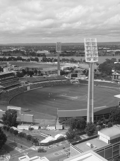 Waca Cricket Stadium Perth Australia Sports Black & White View From The Balcony