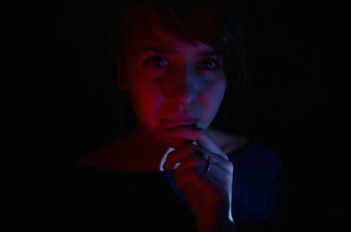 Psycho. Psycho Sight Portrait Portrait Of A Woman Autoportrait Red White Watching Feelings Pain Inside Eyes Are Soul Reflection Eyes Light Vision The Watcher Emotional Emotions Adult Adult Woman One Woman Only One Person Red Black Background Black Fresh On Market 2017