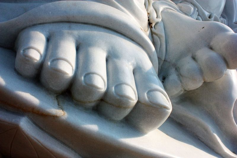 Marble toes at a Buddhist retreat Buddhist Close-up Feet Marble No People Retreat Statue Temple Toes Worship