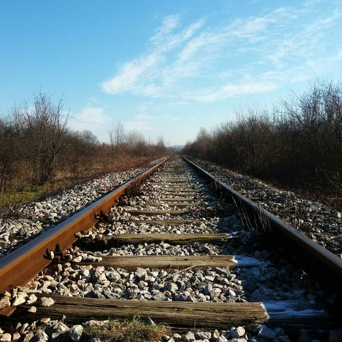 Railroad Track Rail Transportation The Way Forward Cloud - Sky Ont The Way Find Yourself End Od The Winter First Sun Winter Sun Horizon Train Track Railway Tracks