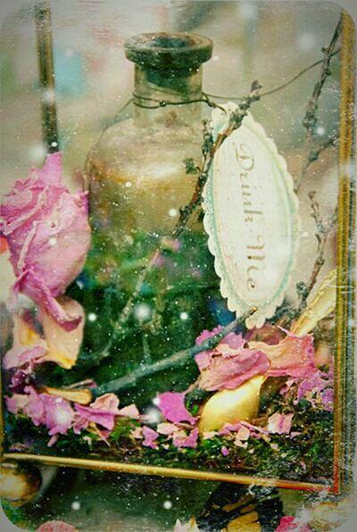 Drink Me Whimsical Wonderland Ethereal Perfume Bottle Ephemera Aliceinwonderland Magical World White Rabbit Downtherabbithole Fairydust Flowerpetals Sparkles Fairygarden