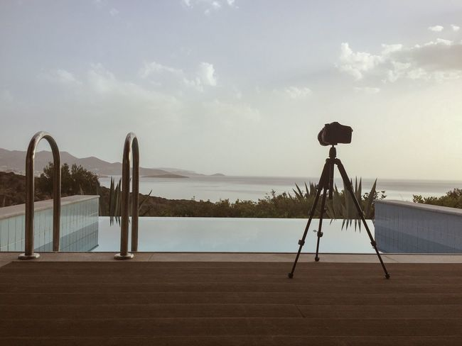 Sky Nature No People Technology Scenics Tranquility Water Cloud - Sky Day Beauty In Nature Tripod Outdoors Photography In Motion Private Pool Sea View Pool With Sea View Idyllic Lowlight Griechenland