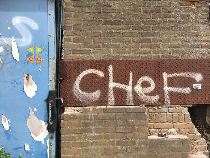 Chef Communication Day Brick Wall Outdoors Text Built Structure No People Architecture Building Exterior Close-up IPhoneography AtelierArgos Urban Landscape