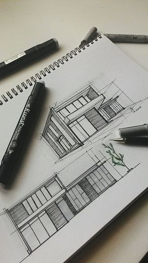 Morning drawing Architecture Sketch SketchUp Moderndesign Grey Architectureporn Designing Square Drawing Artline