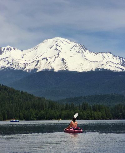 KAYAKING WITH MAJESTIC VIEWS Mt Shasta Lake Siskiyou California Kayaking Beauty In Nature Majestic Majestic Mountain Lake Idyllic Idyllic Scenery Vacation Travel Destinations Tranquil Scene Fine Art Photography