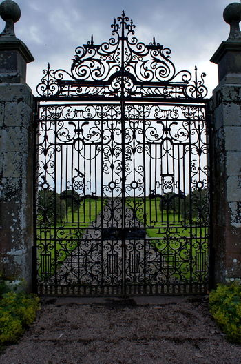 You are leaving the awesome sector ... Castle Cloud - Sky Day Door Dunrobin Castle Europe Gate Handcraft Handmade Heavy Holidays Metal No People Outdoors Pattern Railing Scotland Sightseeing Sky Traveling Uk Way