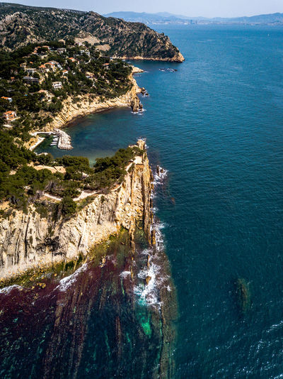 Aerial View Of Cliff By Sea