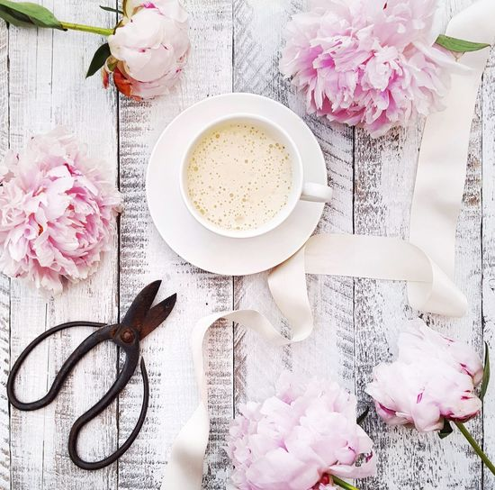 Coffee and Peony flowers Flower Freshness Peony Flower Still Life Flat Lay Pink Color Pink Flower Drink Tea - Hot Drink Table High Angle View Coffee - Drink Coffee Cup Food And Drink Beverage Cappuccino Coffee Hot Drink Froth Saucer Frothy Drink