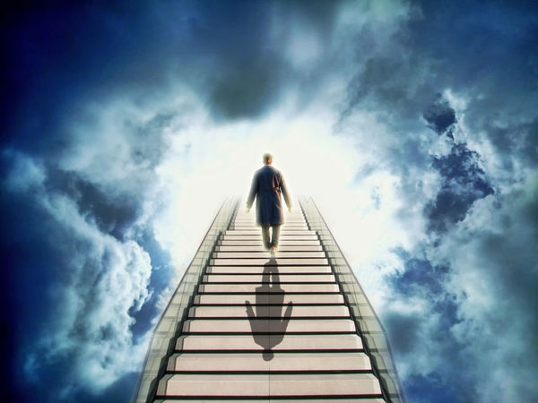 Stairs to heaven Business Death Faith Heaven Hope Life Life After Death Light Man Near Death Experience Spirit Spirituality Stairs Stairway Abstract Afterlife Belief Believe Clouds Die Other Side Paradise Religion Sky Success