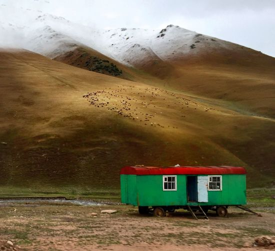 Motor Home Against Mountains