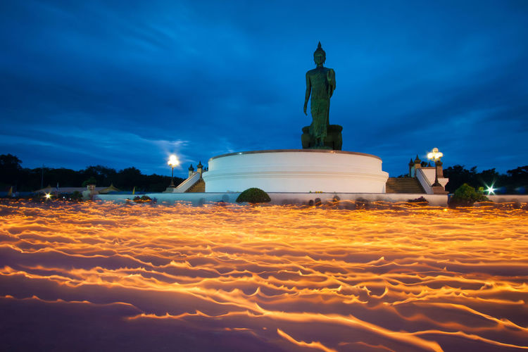 Buddha Magha Puja Magha Puja Day Architecture Art And Craft Blue Buddha Statue Building Exterior Built Structure Cloud - Sky Craft Creativity History Human Representation Male Likeness Nature No People Representation Sculpture Sky Statue Travel Travel Destinations