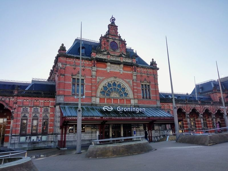 Groningen Holland Red Brick Train Station Station Hall Historical Building Architecture History Travel Destinations Built Structure No People Building Exterior Outdoors Day Sky City Cityscape