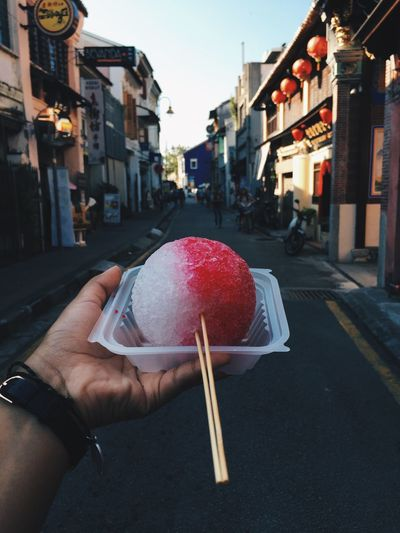 Nothing more refreshing in hot weather than an ice ball topped with lychee and rose syrup ✨ VisitMalaysia2017 Close-up Culture Oldcity Penang Sweets Handsinframe Oliviaburton Dessert Streetfood