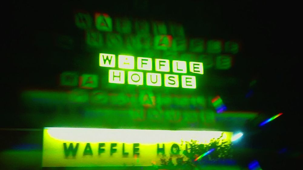 Holo collection: Waffle House --Like this photo? Check out my complete Holographic collection! Illuminated Night Green Color No People Indoors  Neon Close-up The Street Photographer - 2017 EyeEm Awards Lighting Equipment Technology Science Futuristic Homemade Filter Holo Collection Holographic Filter Refraction Hologram Innovation Text Electricity  Glowing Abstract Nightlife Yellow Waffle House !