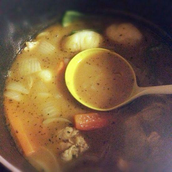 鶏は別に焼いてから入れてます♪スープカレー出来たて笑 Homemade Food Cooking Soup Curry Dinner