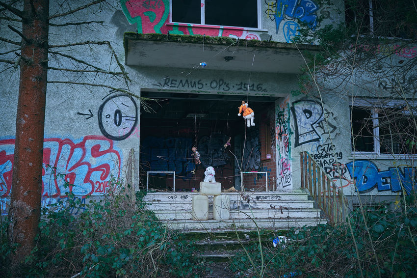 home sweet home Toys House Ruin Graffiti Puppet Lost Lostplaces Abandoned Abandoned Places Abandoned Buildings Abandoned Buildings Plant Landscape Nature Beauty In Nature Tranquility Melancholy Moss Ivy Exploring Mood EyeEm Best Shots Entrance Lucky's Colors Silence Architecture Built Structure