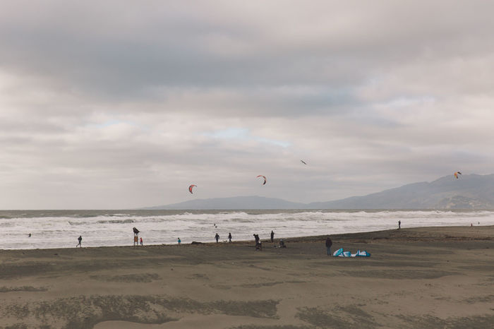 2017 Beach Beauty In Nature Cloud - Sky Day Enjoyment February Flying Horizon Over Water Large Group Of People Leisure Activity Lifestyles Mid-air Nature Outdoors Parachute Real People San Francisco Sand Scenics Sea Sky Sport Vacations Water California Dreamin