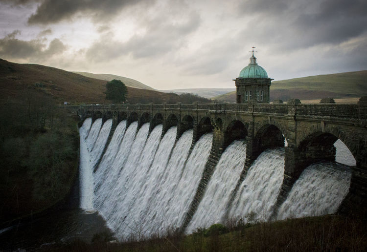 Elan Valley Architecture Building Exterior Built Structure Cloud - Sky Dam Day Elan Elan Valley, Wales Hydroelectric Power No People Outdoors Reservoir Sky