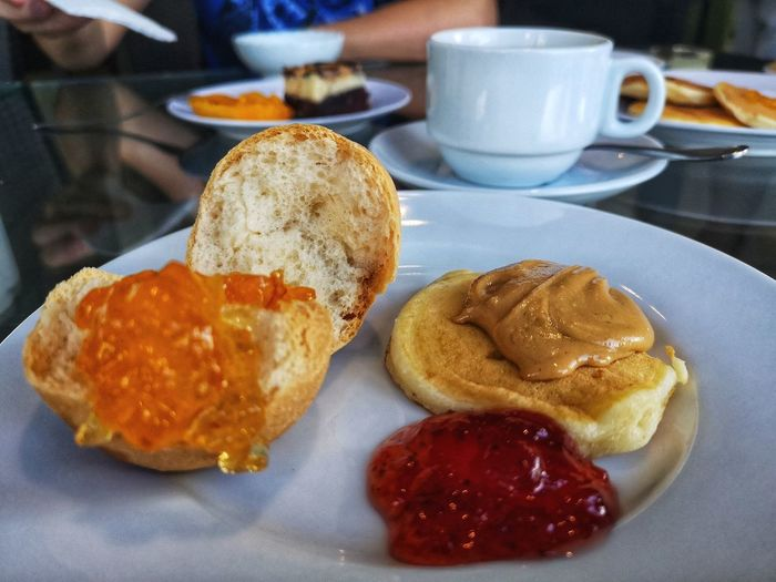 Close-up of breakfast served on table