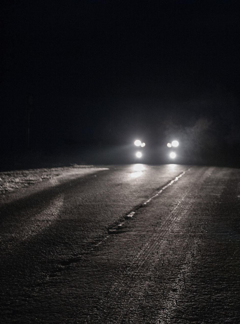 night, illuminated, road, transportation, no people, outdoors, street light, winter, the way forward, nature, tire track, cold temperature, snow, beauty in nature, sky