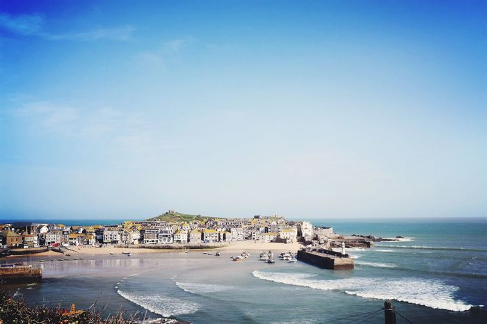 Kernow Coastline Sea Water Sky Beach Land Architecture Nature Beauty In Nature Scenics - Nature Nautical Vessel Horizon Over Water Outdoors Tranquility Built Structure