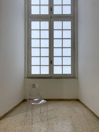 Empty room with glass window at home
