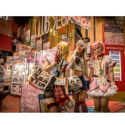 Thanks to these nice girls for the photo Akiba Tokyo Japan Akihabara cosplay clubsega girls manga anime otaku city fujixt1 fujifilm fujinon igers instagood instamood tag4likes 1855 madokamagica
