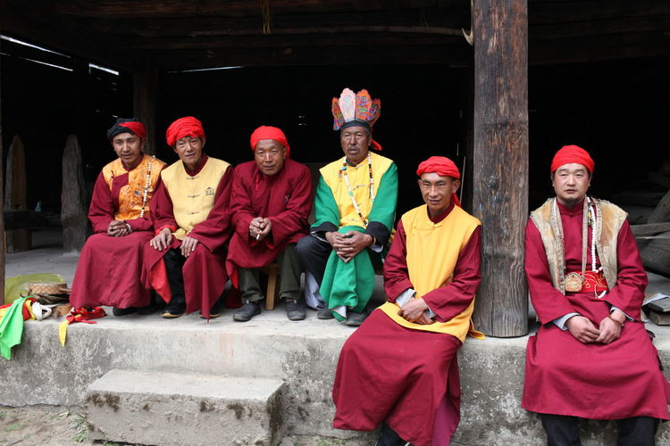 Flamen(Dongba) Traditional Culture Men Sitting Religion Spirituality Cultures Traditional Clothing Temple