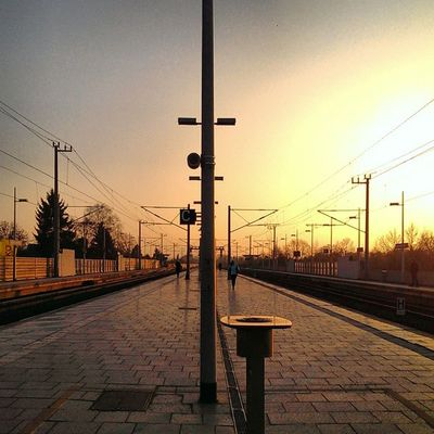 Bahn Railway Station Sunset instasun light colors instacolor track waiting zug train life instalife sky skypainters time winter smell spring feel instagood picoftheday instagramhub instarail