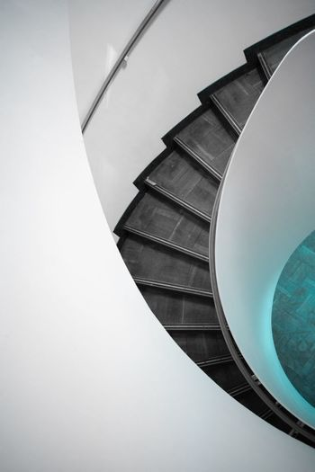 Minimalism Colors Leading Lines Architecture No People Architecture Staircase Built Structure Building Exterior High Angle View Steps And Staircases Building Day Pattern Directly Above Railing Spiral Close-up Spiral Staircase