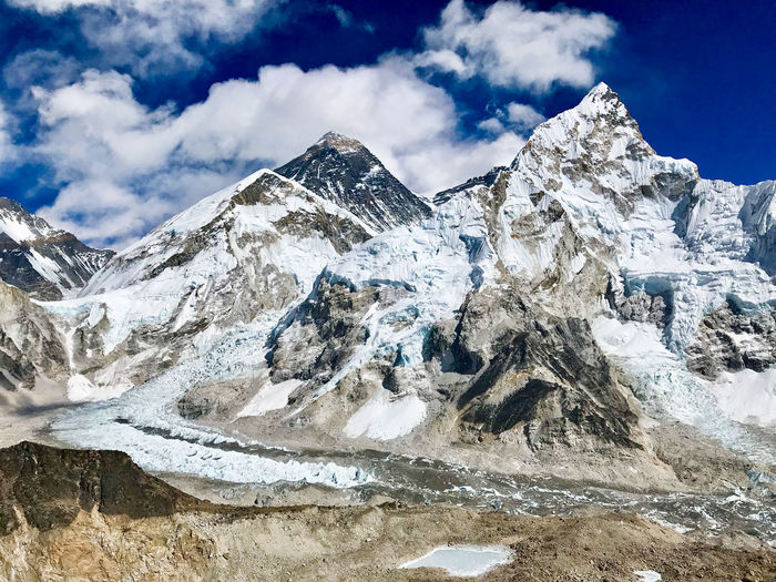 Everest Base Camp Trek - view across Khumbu Glacier at Everest, Nuptse and Puma Ri from Kala Patthar, Himalayas Everest Base Camp Trek Ice Landscape Mountain Peak Mountain Range Sky Snow