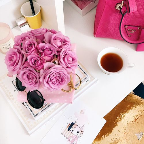 Food And Drink Drink Pink Color Table Refreshment Freshness Indoors  Directly Above High Angle View Dessert Sweet Food Mug Flowering Plant Coffee Cup Coffee - Drink Sweet Food Flower Still Life