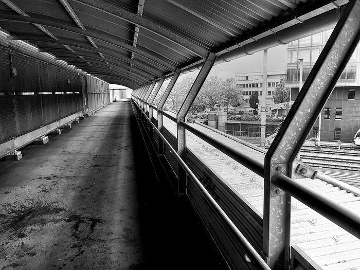 Empty railway bridge in city
