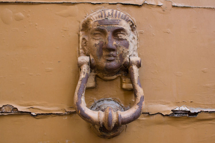 Close-up of old sculpture