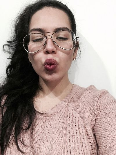 Eyeglasses  Young Adult One Person White Background Black Hair Portrait Real People Indoors  Beautiful Woman Lifestyles Sweter Pink Kiss Vintage Curly Hair Lips Selfies