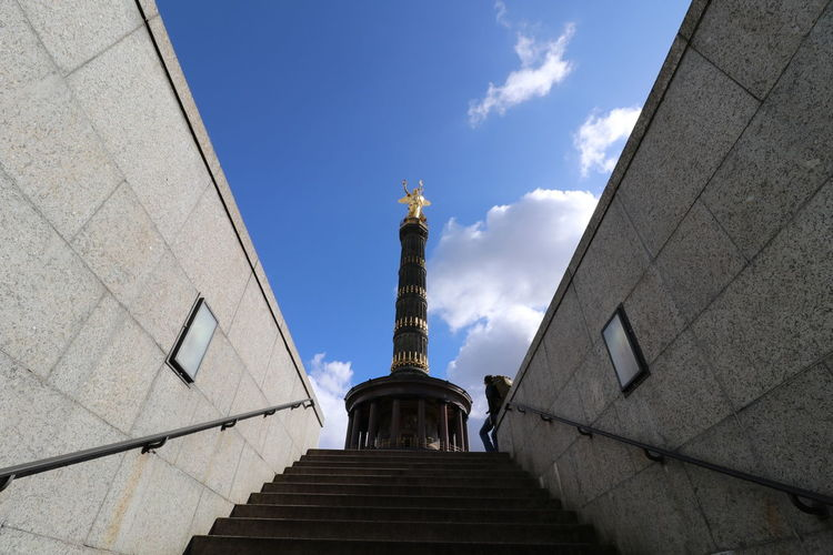 Siegessäule  Siegessäule Berlin Architecture Art And Craft Building Exterior Built Structure City Cloud - Sky Day History Human Representation Low Angle View Monument No People Outdoors Sculpture Sky Statue Travel Travel Destinations
