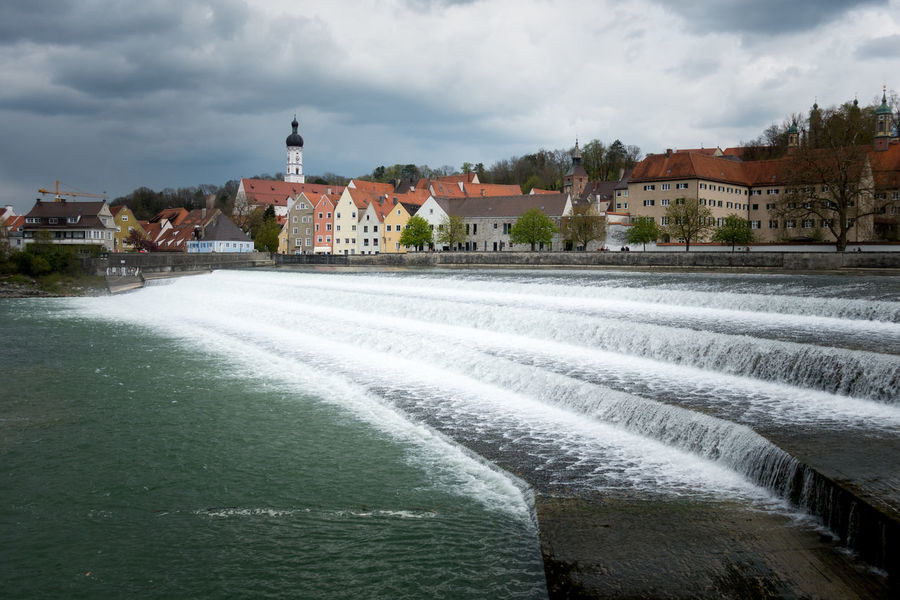 View over river Lech to the mediaval City of Landsberg am Lech Altstadt Architecture Bavaria Bayern Building Exterior Built Structure Day Landsberg Am Lech  Lech Lechstufe Outdoors Sky Water