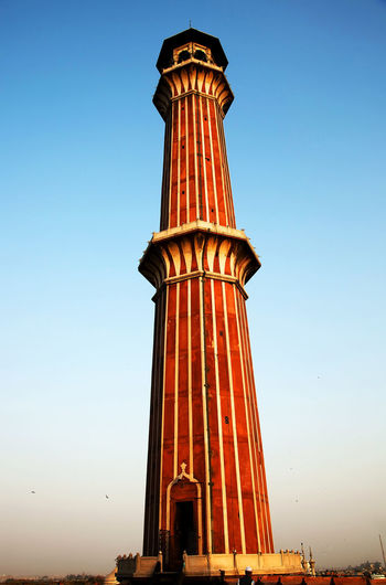 Low Angle View Of Jami Masjid Minaret Against Clear Sky