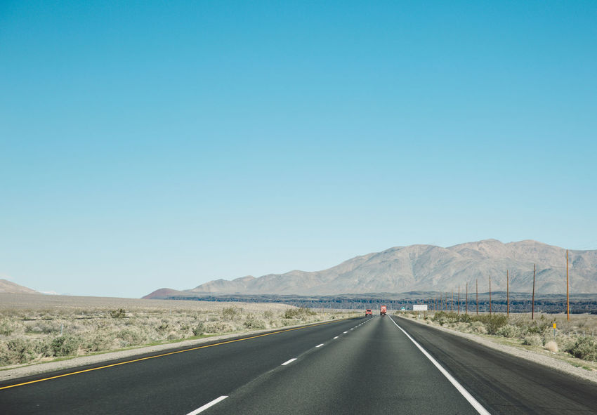 Arid Climate Blue Sky CA-190 Clear Sky Copy Space Coso Day Death Valley Desert Dividing Line Landscape Mountain Mountains Nature Nature Olancha Road Road Road Marking Roadtrip Scenics The Way Forward Tranquil Scene Transportation White Line California Dreamin