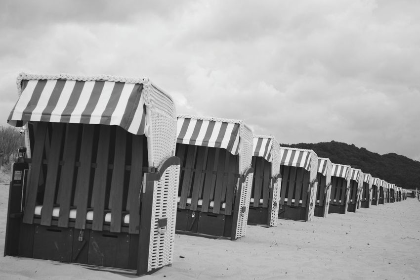 Sand Beach No People Outdoors Rügen Landscape Sunchairs In Line In A Row Black & White Relaxing At The Beach Chilling Outside
