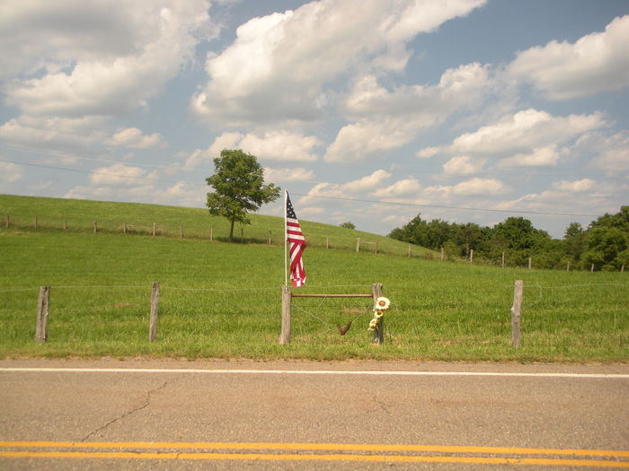 USA Flag on a Country Road in Ohio Country Roads Take Me Home Flag Photography OH-151 Smithfield Township Smithfield, OH Smithfield, OH 43948 Susan A. Case Sabir USA FLAG USA Flag On Country Road Unretouched Photography Wells Township Day Nature Outdoors Sky Sunny Day